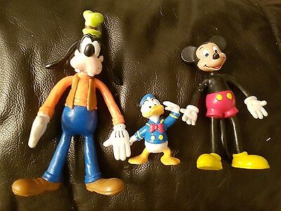 vintage Disney bully land figures x3 Mickey Donald and goofy