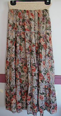 BNWOT CROSSROADS Pretty Floral Tiered Maxi Skirt Size 10