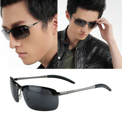 Mens Aviator Sunglasses UV400 Outdoor Sports Driving Glasses Black Lens Eyewear