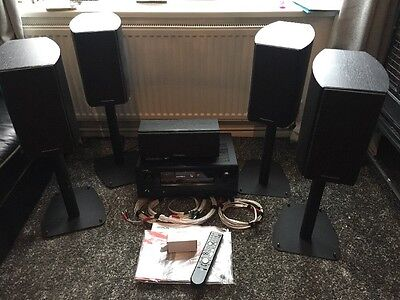 FULL SET UP-Denon AVR-1910 7.1 Channel 125 Watt Receiver-5 Speakers-Cable-Remote