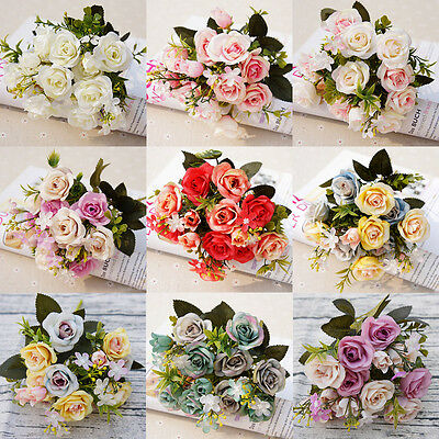10 Artificial Fake Rose Silk Flower Bridal Bouquet Wedding Party Home Decor