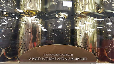 "10 Luxury GIANT  BLACK AND GOLD  Christmas crackers.14"" x 3"" approx.FREE POST"