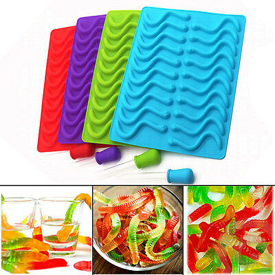 20 Cavity Snakes Worm Gummy Hard Candy Chocolate Silicone Tray Mold Tools Random