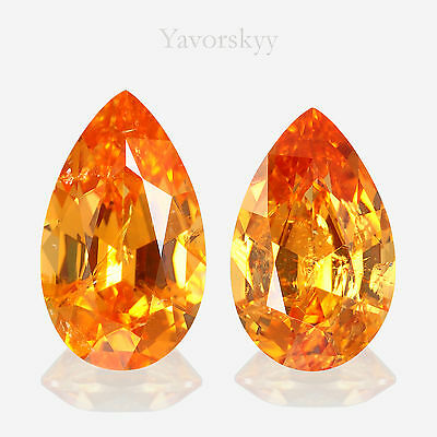 Vivid Orange Mandarin Garnet Natural Yavorskyy-cut 2.39 cts / 2 pcs
