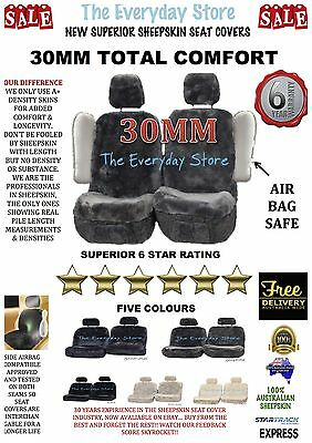 New Premium Genuine Sheepskin Car Seat Cover Pair 30MM Airbag Compatible 3yr Wty
