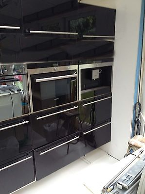 Pair of (2) Black Glass Kitchen Cabinet Doors/Drawer Fronts + Handle - 600x400