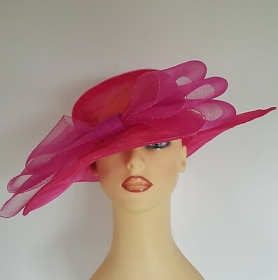 Ladies Formal Occasion Hat Wedding Races Shocking Pink Crushable Bow Hat