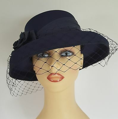 Ladies Formal Occasion Hat Wedding Races Navy Net Veil Satin Band Rosette