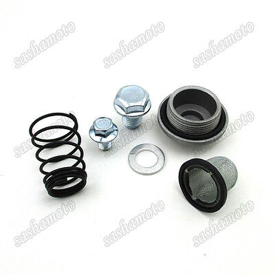 GY6 50 125 150cc Oil Strainer Cap Drain Plug Bolt Screen Seal Spring Scooter ATV