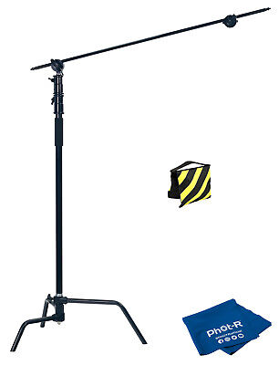 Phot-R Heavy Duty C-Stand with Boom Arm - Black + Sandbag + Microfibre ClothPhot