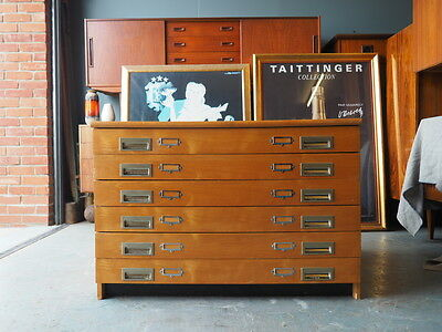 Mid Century 'Plan Chest' Filing Drawer Unit Maple Effect UK DELIVERY AVAILABLE