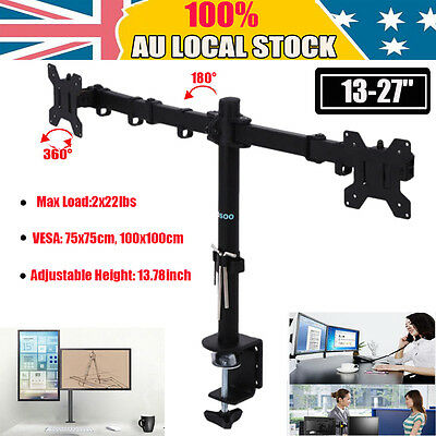 13-27'' Dual Desk Mount Monitor Stand Bracket 2 Arm Hold Two LED TV Screen 44lbs