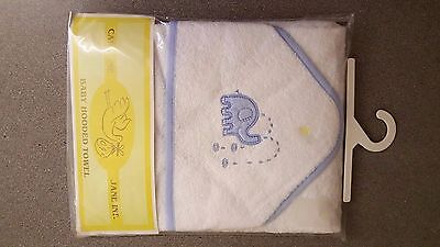 New Baby Hooded Towel White with Blue Elephant