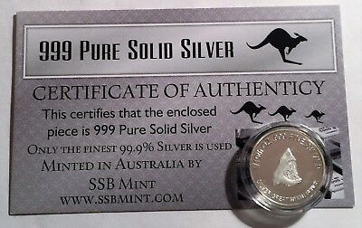 G/W Shark 1/10th Oz 99.9% Pure Solid Silver Bullion Coin, with C.O.A. 14 to Coll