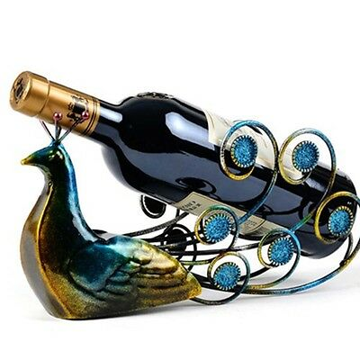 Red Wine Rack Peacock Spreads Its Tail Wine Bottle Shelf Home Bar Metal Ornament
