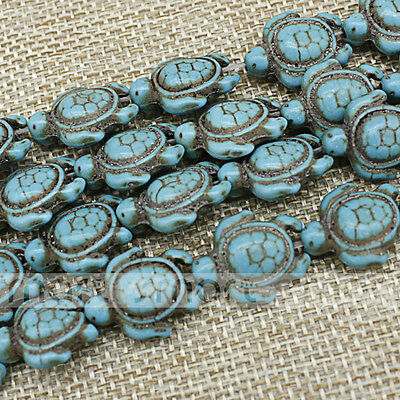 "Synthetic Turquoise Tortoise Shape Loose Beads 15.5"" Inches Strand 15x18mm"
