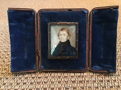 Antique Victorian Hand Painted Portrait Miniature of Gentleman in Easel Frame