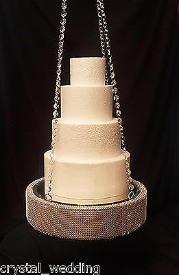 Diamante plateau style cake  suspended swing   wedding cake display