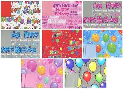 Happy Birthday 2 Sheets Of Gift Wrap Wrapping Paper +2 Tags 1Stp&p