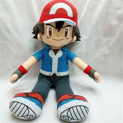 "Anime 30cm/12"" Pokemon Ash Ketchum Stuffed Plush Toy Doll Collection Xmas Gift"