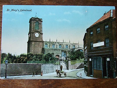GATESHEAD,  St Mary's Church, W.H.S & S., N Series PC, Netherlands 1 cent stamp