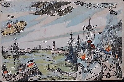 1915 WW1 postcard, depicting Cuxhaven Air-raid, with censor stamp