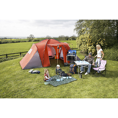 6 Man / Six Person Dome Camping Tent with THREE Rooms with central living space
