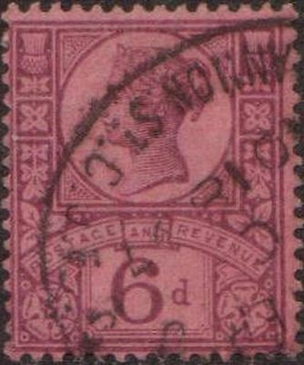 Great Britain 1887 SG208 6d purple on rose-red paper Queen Victoria FU