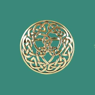 Striking Round Gold Celtic Knotwork Brooch Pin Infinity Eternity Endless Knot