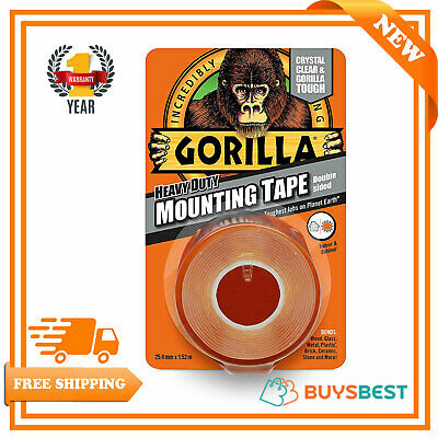 Gorilla Glue Transparent 1.5m x 25mm Heavy Duty Double Sided Mounting Tape 5178