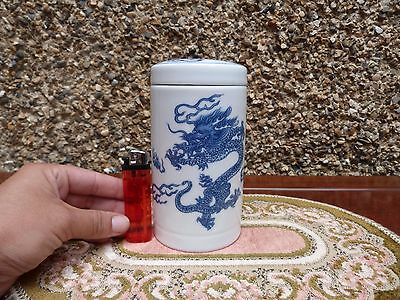 Chinese Porcelaine Tea Cuddy White/Blue Dragon chasing flaming pearl Stamped