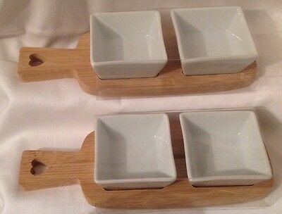 4 Serving Dip Dishes Chutney Dish Relishes sauces condiment bowls with Wood Tray
