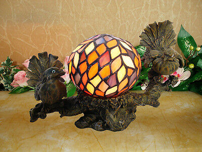 *limited* Tiffany Style Stained Glass Leadlight Bird Nest Nouveau Table Lamp