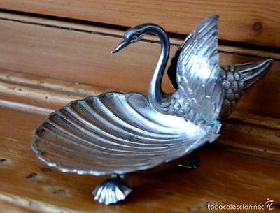SPECTACULAR MARKED SPANISH SOLID SILVER CENTER PIECE SWAN * 75,5 grams