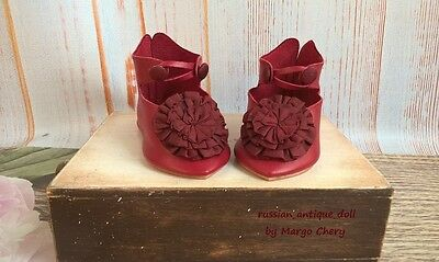 """Shoes 3-3/8"""" (10 cm) for French Jumeau German antique doll color tomato"""