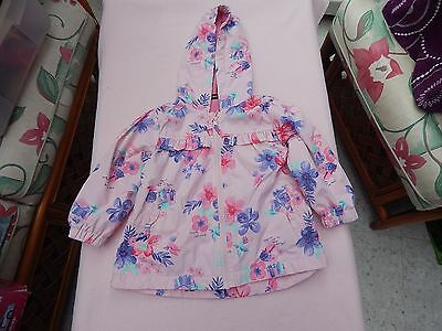 Very Nice George Baby Girls Pink Floral Raincoat Age 18 - 24 Months