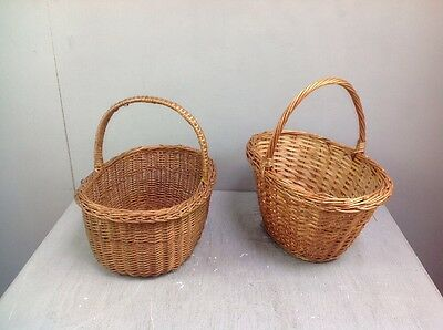 Pair of Wooden Wicker Straw Style Baskets