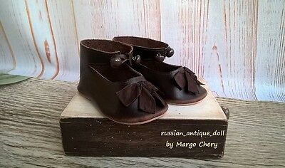 "Shoes 4-3/4"" (12  cm) for French Jumeau German antique doll brown"