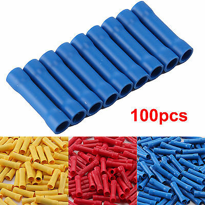 100PCS Insulated Straight Butt Connector Electrical Wire Crimp Terminals