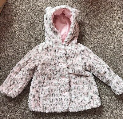 Girls Furry Baby Pink Leopard Print Coat 12-18 Months