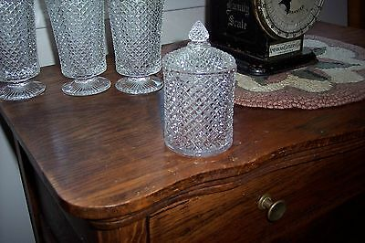 Beautiful Small VTG  Glass Diamond Point Covered Jar Container