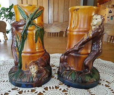 """2 Majolica Pottery Monkey Bamboo Candle Stick Holders 9.25"""" T×5.75""""W"""