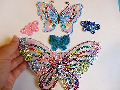 5 patches sequin butterfly patch applique iron on sew motif badge hotfix sewing