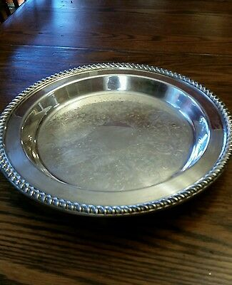 """Vintage poole silver co.12 """"  Footed plater # 1005"""