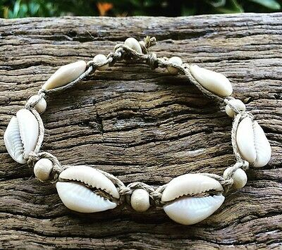 Hand Made Hemp Anklet with Cowrie Shells & Timber Beads, Sea Gypsy Bohemian