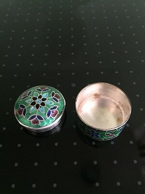 Vintage silver  Imperial Russian style cloisonne enamel snuff/pill box