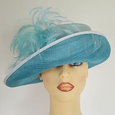 Ladies Formal Occasion Hat Wedding Races Turquoise Silk Mix Fully Lined