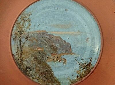 * Rare Watcombe Torquay Plate Hand Painted Clovelly Harbour/red Lion Hotel Inn *
