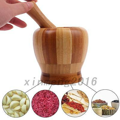 Wood Garlic Ginger Herb Mixing Grinding Spice Crusher Bowl Mortar and Pestle New