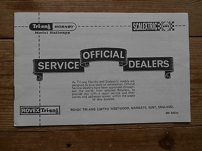 Tri-ang Hornby Scalextric Official Service Dealers  39th Edition 16 page Booklet